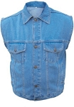 Men's Blue Denim Vest with Gun Pockets