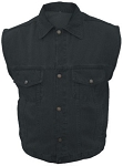 Men's Black Denim Vest with Gun Pockets