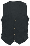 Men's Side Lace Black Denim Vest with Gun Pockets