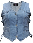 Ladies Side Lace Blue Denim Vest with Gun Pockets