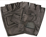 Vented Padded Fingerless Leather Gloves