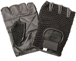 Padded Leather Fingerless Gloves with Mesh