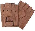Brown Premium Vented Fingerless Leather Gloves