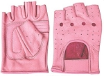 Ladies Pink Fingerless Leather Gloves