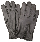 Unlined Zipper Leather Motorcycle Riding Gloves