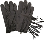 Zipper Unlined Leather Gloves with Fringe