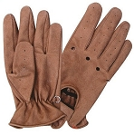 Brown Vented Leather Gloves with Velcro Strap