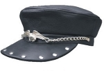 Studded Biker Cap with Eagle on Chain