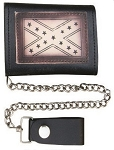 Leather Chain Wallet with Rebel Flag
