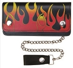 6 Inch Biker Chain Wallet with Flames