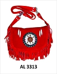 Ladies Red Handbag with Beads, Bones, Fringe