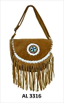 Ladies Brown Handbag with Beads, Lacing, Fringe