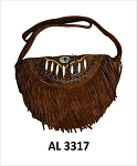 Ladies Brown Handbag with Bones, Conchos, Fringe