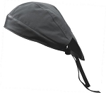 Black Cotton Skull Cap with Black Leather
