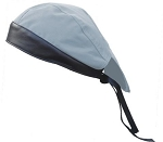 Light Blue Cotton Skull Cap with Black Leather
