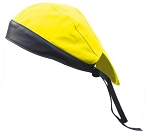 Yellow Cotton Skull Cap with Black Leather