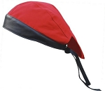 Red Cotton Skull Cap with Black Leather