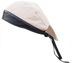 Cream Cotton Skull Cap with Black Leather