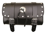Studded Leather Motorcycle Tool Bag with Silver Conchos