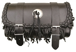 Fringe Leather Motorcycle Tool Bag with Silver Conchos