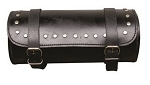 Studded Round Leather Motorcycle Tool Bag 10 inch