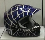 Youth Blue DOT ATV Dirt Bike MX Spider Web Helmet