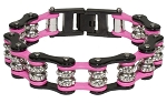Pink and Black Motorcycle Chain Bracelet with Gemstones