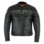 Men's Vented Reflective Skulls Leather Jacket
