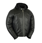 Men's Vented Removable Hood Leather Jacket