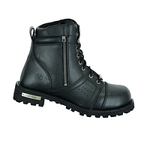 Men's Perforated Side Zipper Leather Biker Boots