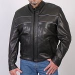 USA Made Reflective Leather Motorcycle Jacket