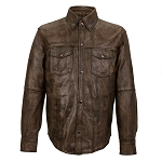 Men's Distressed Brown Leather Shirt with Gun Pocket