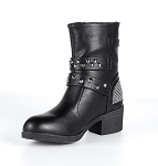 Ladies Zippered Multi-Studded Buckle Boots