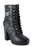 Womens Leather Zippered Chunky Heel Boots