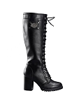 Womens Knee High Laced Boots Side Zipper