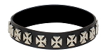 Leather Choker Necklace with Chopper Cross