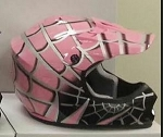 Youth Pink DOT ATV Dirt Bike MX Spider Web Helmet