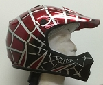 Youth Red DOT ATV Dirt Bike MX Spider Web Helmet