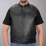 Men's Conceal Carry Leather Vest Multi Pockets