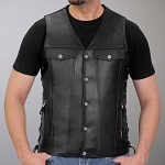 Men's Conceal Carry V-Neck Leather Vest