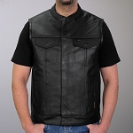 Men's Conceal Carry Leather Vest Zipper Front