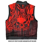 Men's Conceal Carry Leather Vest Red Skull Liner