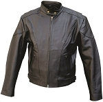 Men's Leather Motorcycle Jacket with Air Vents
