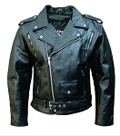 Mens Leather Motorcycle Jacket with Full Roller Belt