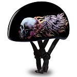DOT Motorcycle Half Helmet with Skulls and Wings