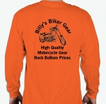 Billy's Biker Gear Orange Long Sleeve Shirt