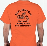 Billy's Biker Gear Orange T-Shirt