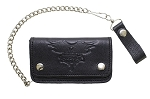 Winged V-Twin Engine Black Leather Chain Wallet