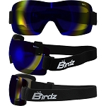 Lightweight Motorcycle Goggles Padded Blue Lens