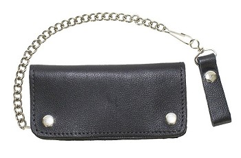 Black Leather Motorcycle Chain Wallet